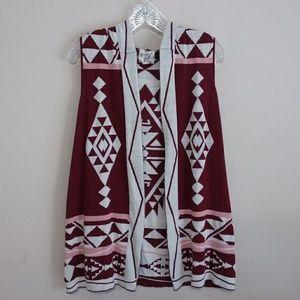 Hippie Rose Boho Style Hooded Sweater Vest